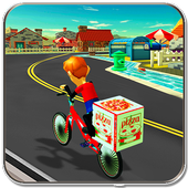 BMX Bicycle Pizza Delivery Boy icon