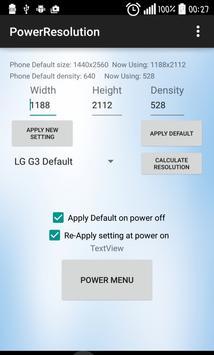 Resolution changer Power Menu screenshot 2