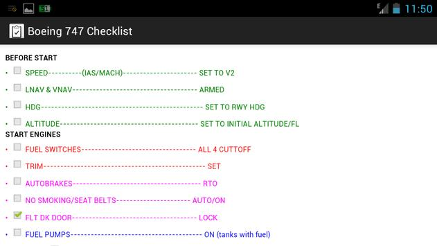 Boeing 747 Checklist for Android - APK Download