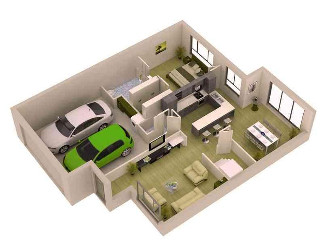 3d small home plan ideas poster