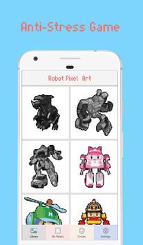 Robot Superhero Pixel Art - Coloring By Number poster