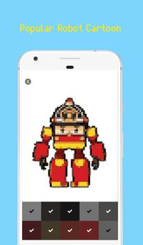 Robot Superhero Pixel Art - Coloring By Number screenshot 2