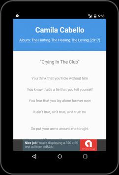 Best Music Lyric Camila Cabello apk screenshot