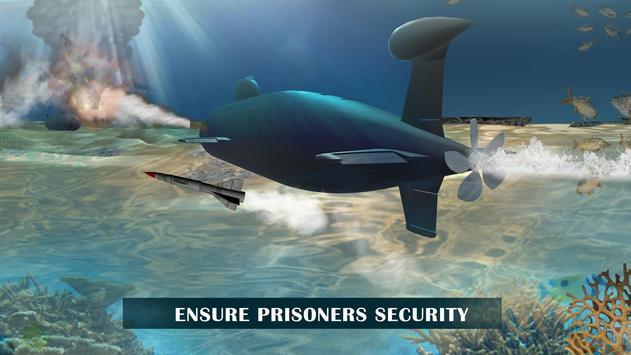 US Army Prisoner Transport Submarine Driving Games screenshot 2