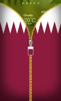 Qatar Flag Zipper Lockscreen poster