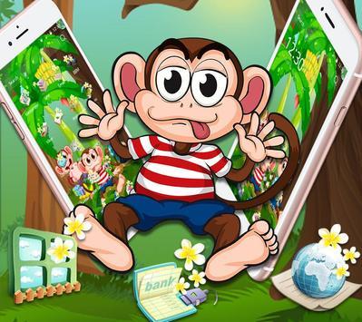 Cute Banna Monkey Theme screenshot 1