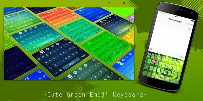 Cute Green Emoji Keyboard poster