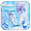 Cute Ice Blue Cat Theme