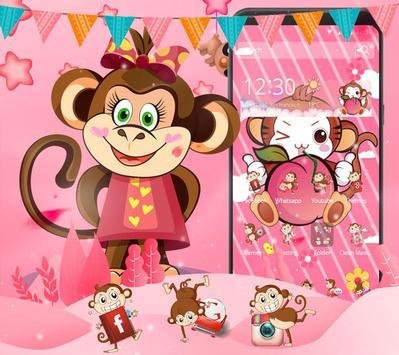 Cute Peach Monkey Theme poster