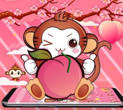 Cute Peach Monkey Theme screenshot 1