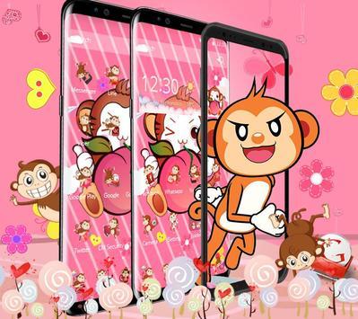 Cute Peach Monkey Theme screenshot 2