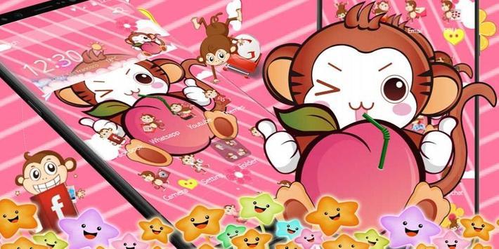 Cute Peach Monkey Theme screenshot 3