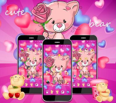 Cute Pink Bear Theme screenshot 4