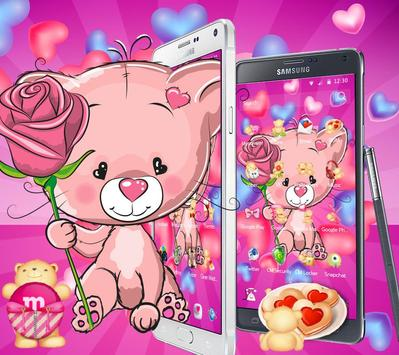 Cute Pink Bear Theme screenshot 5
