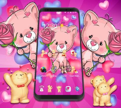 Cute Pink Bear Theme screenshot 2
