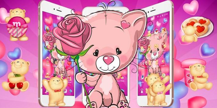 Cute Pink Bear Theme screenshot 3