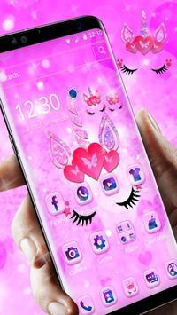 Cute pink unicorn poster