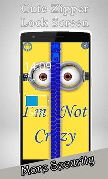 Yellow Minion Zipper Lock Screen poster