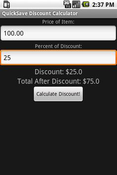 QuickSave Discount Calculator apk screenshot