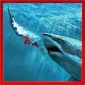Tubarão com fome real ícone