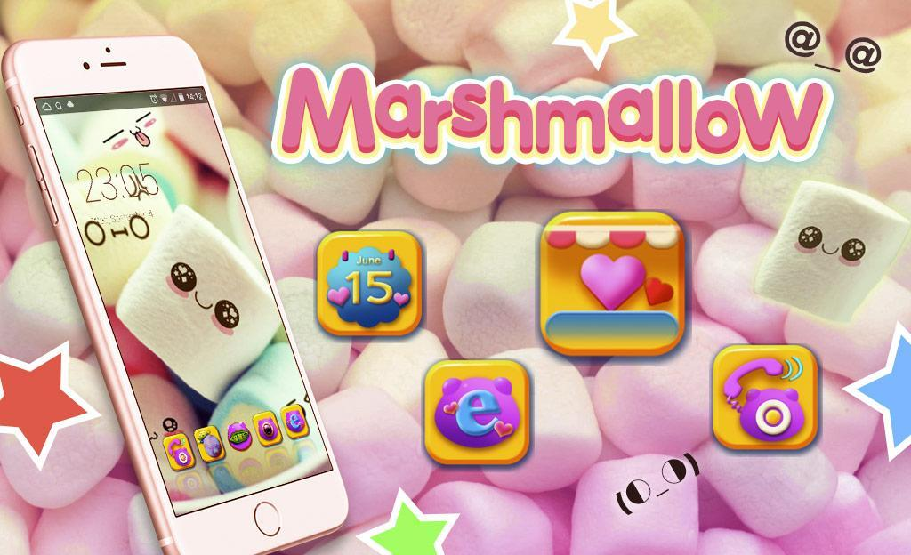 Cute Marshmallow cartoon Theme for android free poster