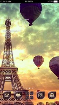 Flying on Eiffel Tower Theme poster