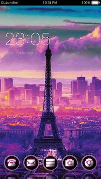 Eiffel Tower Purple Theme poster