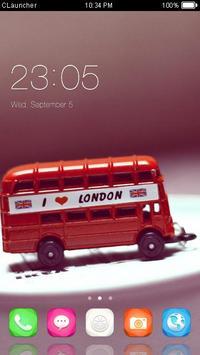 Cartoon London Bus Theme poster