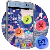 Stylish Romantic Theme: Neon Night Street Launcher icon