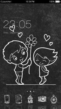 Cute Love Black & White Theme apk screenshot