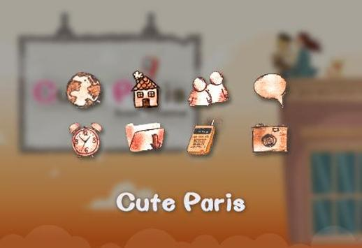 Cute Paris Comic Theme: Cartoon launcher ng Paris poster