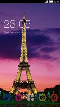 Sunset Paris CLauncher Theme poster