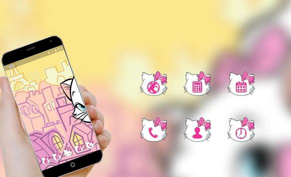 Cute kitty Launcher theme: Pink lovely Cartoon apk screenshot