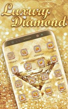 Luxury Diamond Launcher: Gold Glitter Deluxe Theme poster