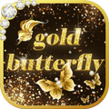 Shining theme: Sparkle Gold Butterfly wallpaper HD