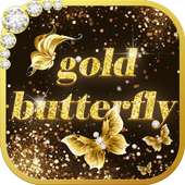 Shining theme: Sparkle Gold Butterfly wallpaper HD icon