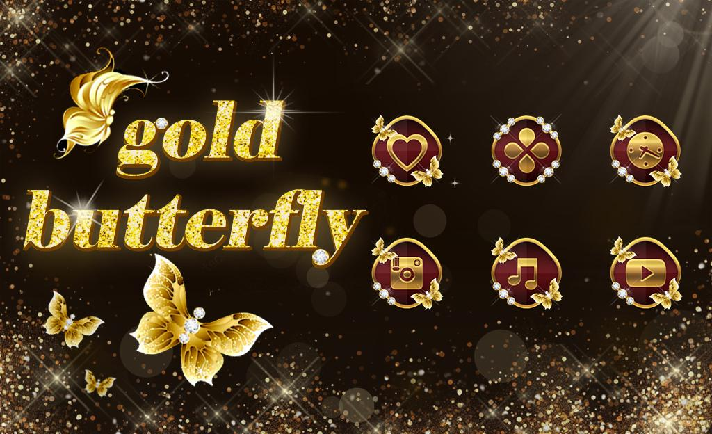 Shining Theme Sparkle Gold Butterfly Wallpaper Hd For