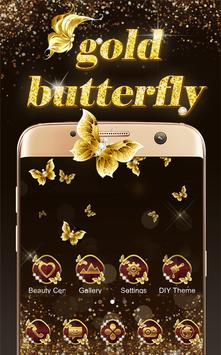 Shining theme: Sparkle Gold Butterfly wallpaper HD apk screenshot