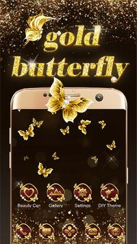 Shining theme: Sparkle Gold Butterfly wallpaper HD poster