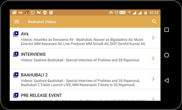 Baahubali Videos screenshot 1
