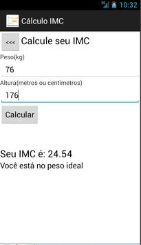 Cálculo IMC - massa corporal apk screenshot