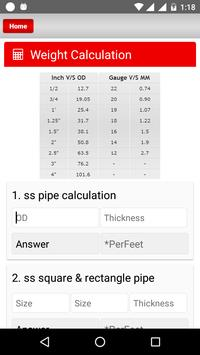 Steel WEIGHT CALCULATE apk screenshot