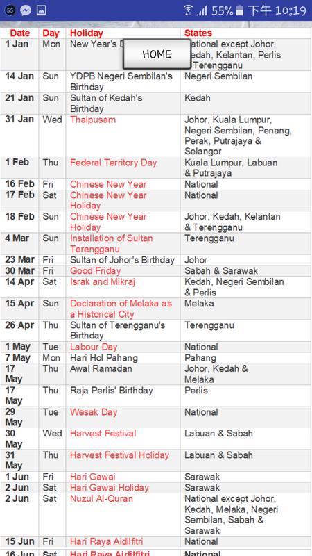 Free Download Calendar 2019 Malaysia