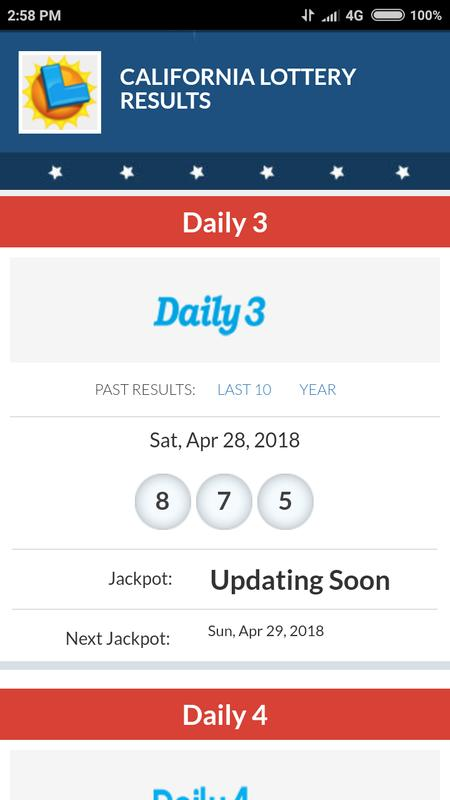 california lottery results app - win ca lottery for android - apk