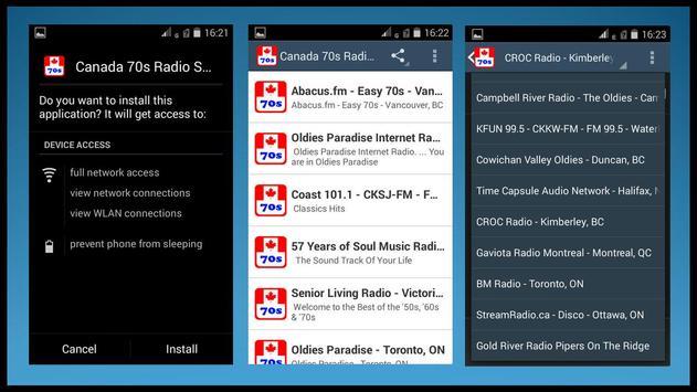 Canada 70's Radio Stations apk screenshot