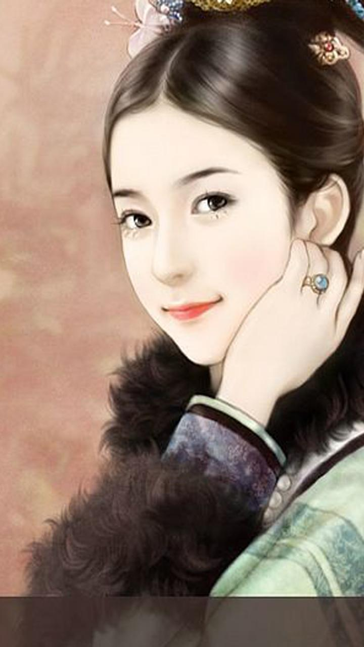 Chinese Beautiful Girl Painting Hd Wallpaper For Android