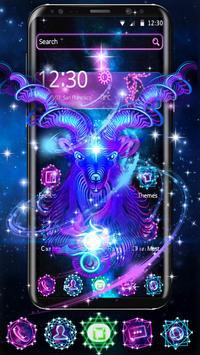 Capricorn Constellation Theme Glitter Purple Galax poster
