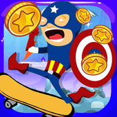 Superhero Runner Captain Adventures America Space icon