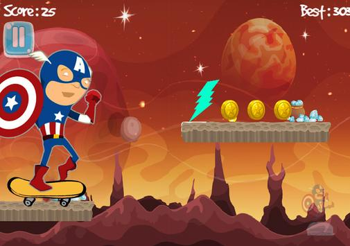 Superhero Runner Captain Adventures America Space poster