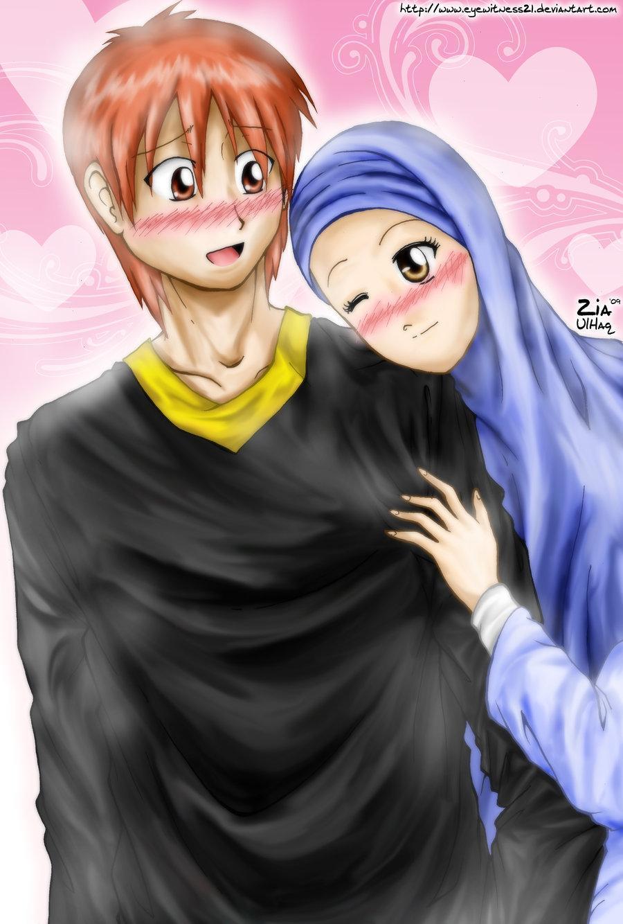 Muslim couple cartoon wallpaper screenshot 3